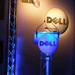 Dell podium with microphone and branded backdrop