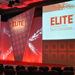 Elite investment summit stage with decorative lighting